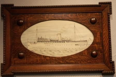 The Swedish SS KORSHOLM built 1931 (still in use today as SS STOCKHOLM). In original oak frame.