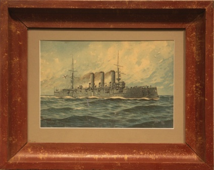 Depicting an Imperial Russian Navy battleship heading for Japan