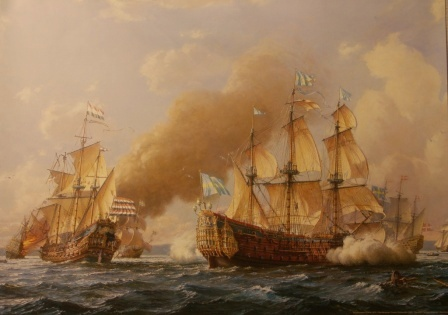Depicting Regalskeppet KRONAN 1676. Naval battle off Öland between the Swedish and the joined Dutch-Danish Fleets