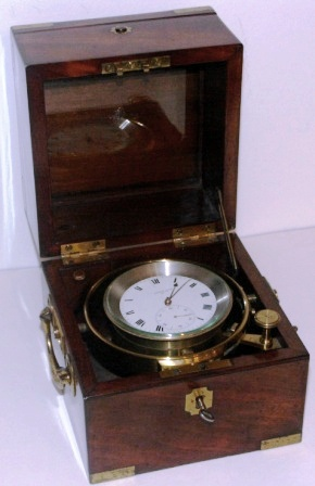 "19th century ""C.F. Laurins Söner Stockholm"" marine chronometer No 126. Mounted in brass gimbals, mahogany case and brass fittings."