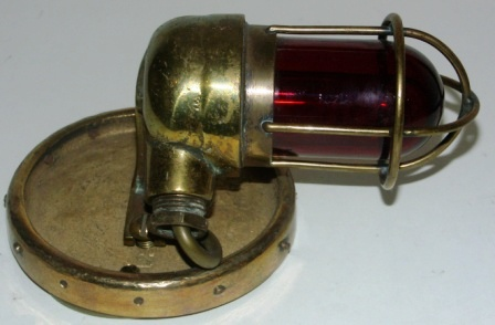 20th century electrified engine room / bulkhead light made of solid brass