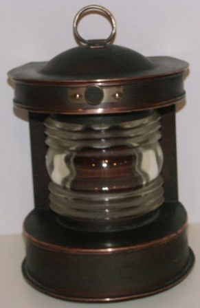 20th century electrified copper masthead light. Manufacturer unknown.