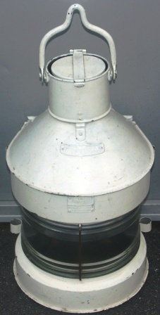 20th century white painted galvanized masthead light, complete with original kerosene burner. Marked Meteorite 034711.