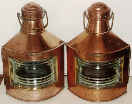 Pair of 20th century Norwegian copper navigation lanterns, port and starboard. Including oil burning lamps.