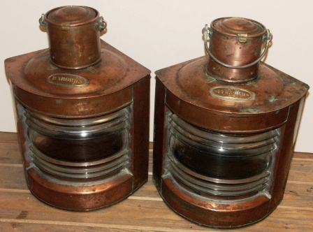 Pair of early 20th century Swedish copper navigation lanterns made by Erik Ohlsson, Hälsingborg. Marked ST 45425 & ST 45426. Port and starboard, including oil burning lamps.