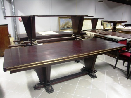 Rectangular table in mahogany and brass from the Italian liner M/N G. Verdi.