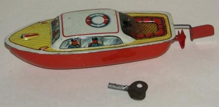 20th century sheet-metal motorboat model. Fitted with inboard engine.