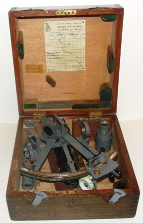 Mid 20th century metal sextant made by H. Hughes & Son Ltd., London. No 38299. Last corrected in 1953. Two telescopes and nine sun-filters. In original wooden case.