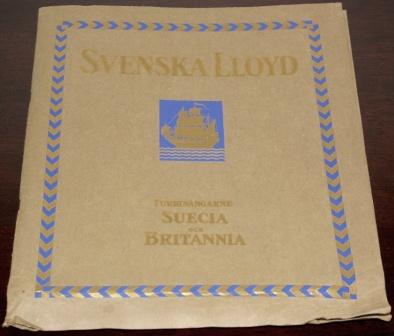 Richly illustrated Svenska Lloyd publication with interiors from their well known passenger vessels, SUECIA and BRITANNIA, travelling between London and Gothenburg. Incl timetable.