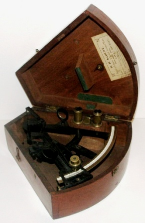 Late 19th century sextant in original mahogany case. Made by A. Harris, West Hartlepool and adjusted 1908 & 1912 by E.F. Lundy, Great Grimsby. Ebony bone scale, vernier with a magnifier to assist scale readings, two telescopes and six sun-filters.