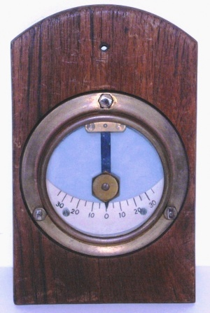 Early 20th century brass clinometer mounted on wooden panel.
