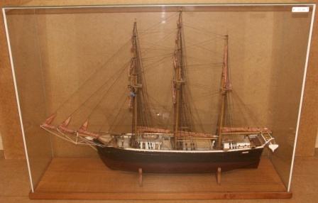 20th century built model depicting the Swedish sailing vessel META of Stockholm. Mounted in glass case.