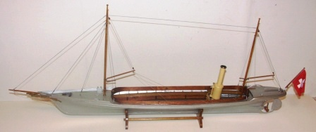 "20th century built model depicting Alfred Nobels aluminium-hulled sloop""MIGNON"" built 1892 by the Swiss company Escher Wyss AG. The worlds first aluminium boat and one of the first naphtha/vapor launches."