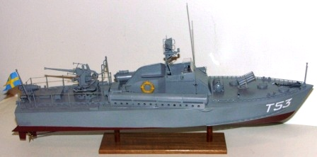20th century built model depicting the Swedish Navy Motor Torpedo Boat T53, built by ÖVS Stockholm in 1956.