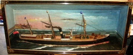 Late 19th century built diorama depicting the British mail-steamer J.W. Corset.