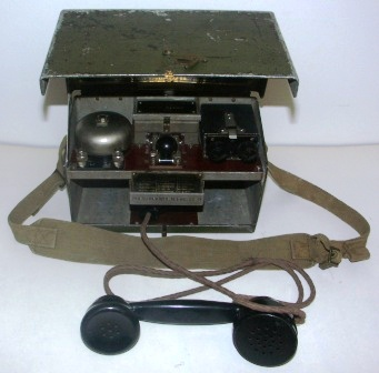 1940 portable telephone set D. MK. V with telegraph / morse key. Made by P.T & E.W. Ltd. Serial No 39862. Marked N-735 on the lid.