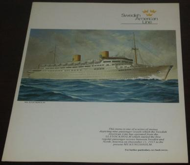 First Tuesday (crossing the date line) April 1, 1975 dinner menu from the passenger liner M/S Kungsholm (Swedish American Line). Front page depicting the earlier M/S Kungsholm built in Italy 1941 and bombed and destroyed off the coast of Yugoslavia.