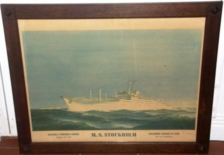 Swedish American Line (SAL) poster depicting M.S. STOCKHOLM (collided with S/S Andrea Doria)