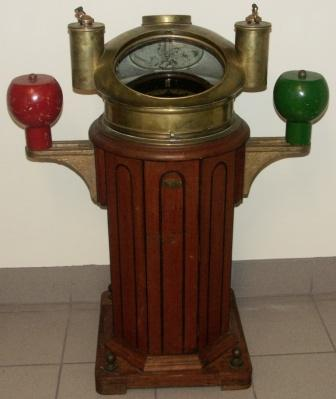 Late 19th century binnacle with compass mounted in gimbals. Binnacle and compass made by Einar Weilbach, Niels Juelsgade 6, København K.
