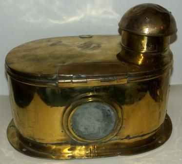 Late 19th century brass binnacle hood with bracket for kerosene lamp.