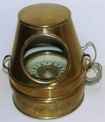Mid 20th century brass binnacle, complete with original compass and incl electric illumination. No: 33694. Made by AB Lyth, Stockholm.