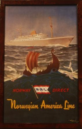 Depicting the NAL (Norwegian America Line) liner OSLOFJORD.