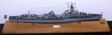 20th century German WWII warship KARL GALSTER. Mounted in glass case.