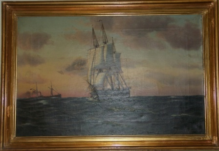 A Danish frigate and a steamer