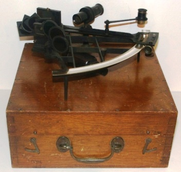 Late 19th century brass sextant made by Crichton & Son, London. Sold by E. Esdaile & Sons, Sydney.Latticframe, silver scale, vernier with a magnifier to assist scale readings, one telescope and seven sun-filters. In original wooden case.