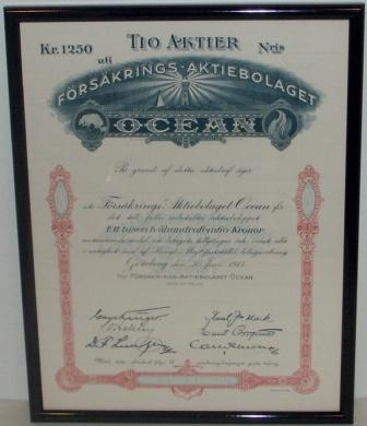 Swedish insurance company OCEAN share certificate dated Gothenburg June 30. 1917.