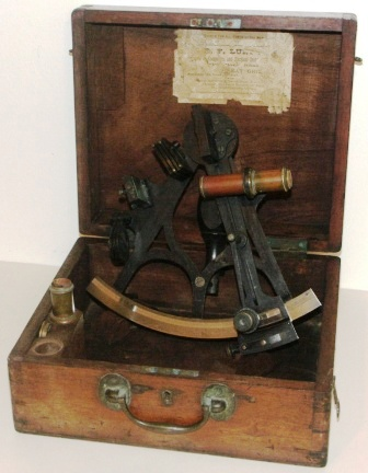 19th century sextant in original mahogany case. Made by A. Johannsen & Co, 149 Minories London. Tulip frame, silver scale and vernier with a magnifier to assist scale readings. Two telescopes and one sun-filter. Adjustment certificate (illegible).