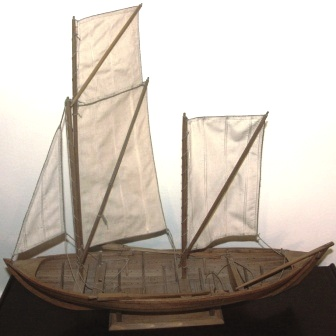 "Early 20th century Swedish clinker-built wooden model depicting a ""Gotlänsk Tvåmänning"" (typical boat used on the island Gotland)"