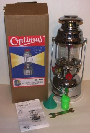 20th century chrome-plated kerosene table/ceiling lamp made in Sweden by Optimus No 1551/500 CP. Incl instructions for use, spare parts and original box. Unused condition.
