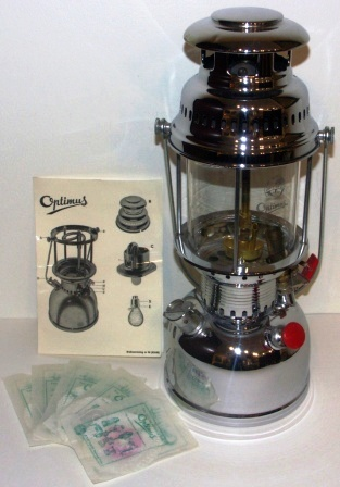 20th century chrome-plated kerosene table/ceiling lamp made in Sweden by Optimus. No 1551/500CP. Incl instructions for use and five original spare mantles. (No 4). Unused condition.
