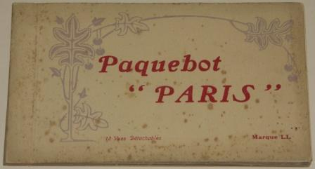 Paquebot PARIS of the French Line/Cie Générale Transatlantique. Booklet containing 12 detachable postcards depicting the vessels interior.