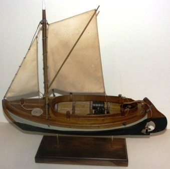 20th century clinker-built and spritsail-rigged open coaster type model equipped with compression-ignition engine.
