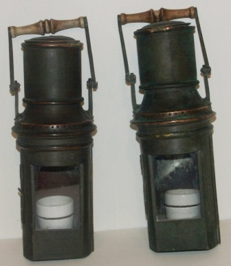 A pair of 20th century electrified binnacle lamps, made of brass.