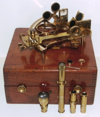 Early 20th century brass sextant No. 13143 made by H. Hughes & Son Ltd. London. Last examined and adjusted November 1920 by the National Physical Laboratory England. Brass circle frame, silver scale, four telescopes and six sun-filters. In original mahogany case (requires minor attention).
