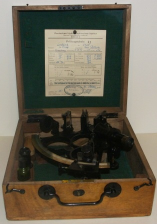 20th century sextant made by C. Plath, Hamburg. Last examined and adjusted 21st October 1946 by Deutsches Hydrographisches Institut, Hamburg. Brass circle frame, silver scale, three telescopes and sun-filters. In original oak case.
