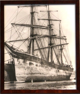 The barque QUEEN MAB moored in harbour