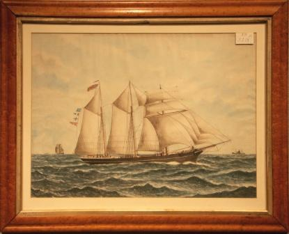 Depicting the British topsail-schooner CUMBERLAND LASSIE