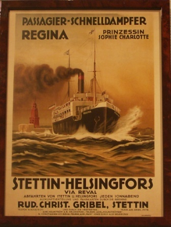Depicting the pasenger steamer REGINA of the German shipping company Rud. Christ. Gribel.