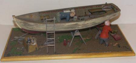 """Prepairing hull and engine for a new exciting season."" 20th century model depicting boat-yard scenery."