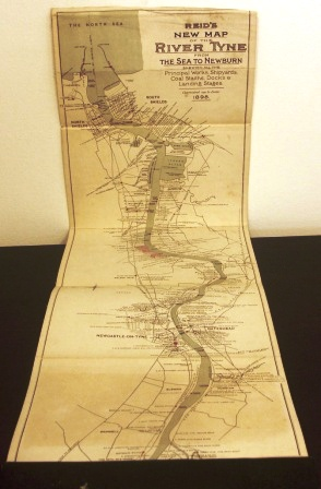 Reid's new map of River Tyne from the Sea to Newburn published 1898. A guide to all the principal Works, Shipyards, Coal Stalths, Docks and Landing Stages.