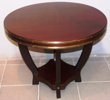 Round coffee table in mahogany and brass from the liner M/N G. Verdi, shipping company Italia.