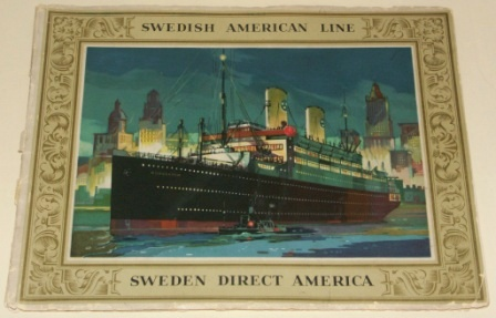 Swedish American Line (SAL) booklet. Illustrating interiors from the motorliners KUNGSHOLM and GRIPSHOLM.