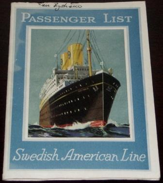 List of passengers in first and second class onboard the M/S Gripsholm, travelling between New York and Gothenburg April 20th 1929.