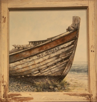 A Mediterranean boat wreck on the Greek island Patmos. Framed with one of the wrecks original wheel-house windows.