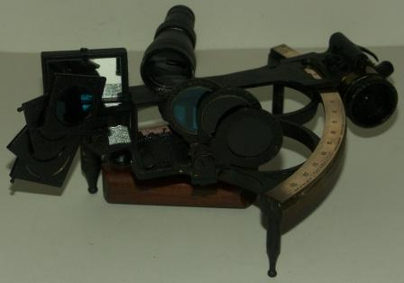 19th century sextant made by D. Shackman & Sons, London & Chesham. Circle frame, brass scale, one telescope and 7 sun-filter.
