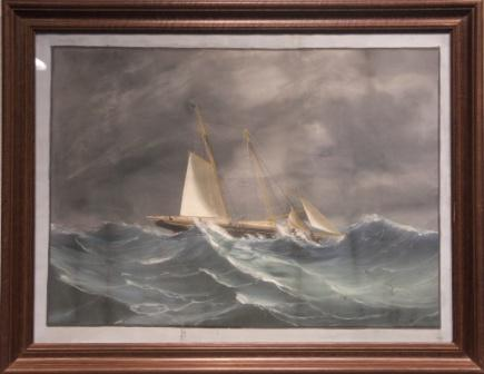 Schooner in heavy sea